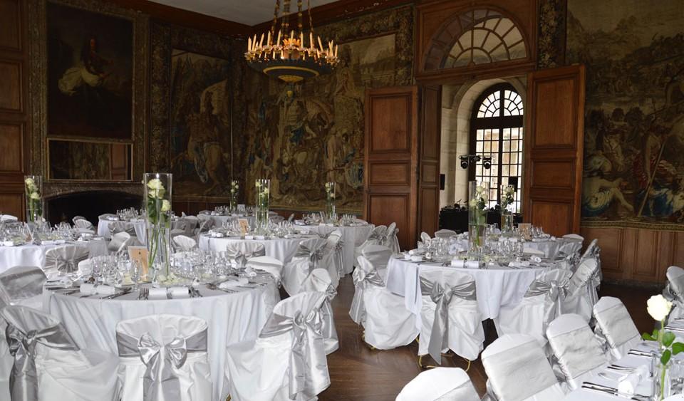 Décoration mariage gris et ivoire château d'Haroué griffe déco nancy lorraine