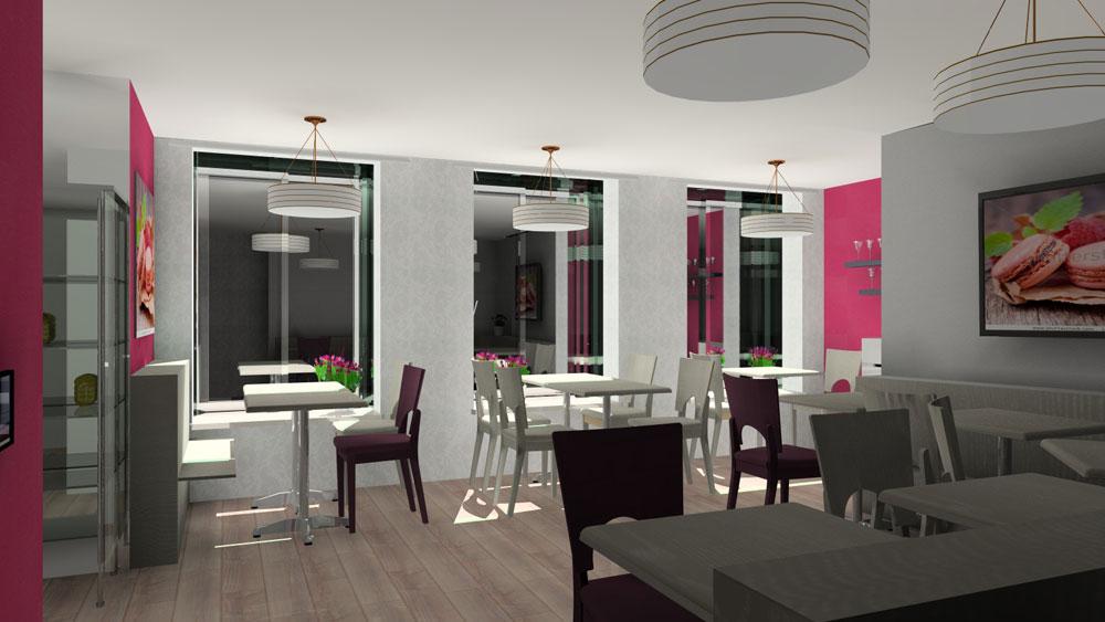Visualisation en 3d salon de th - Deco interieur 3d ...