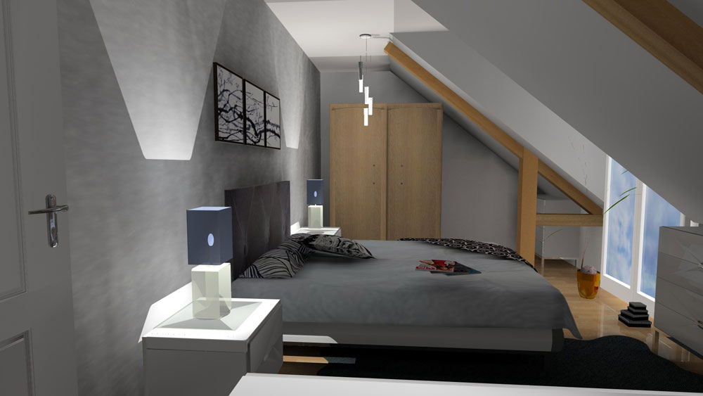 3d chambre sous comble. Black Bedroom Furniture Sets. Home Design Ideas
