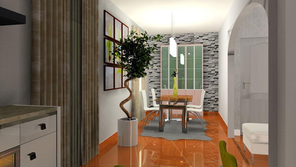 3d salon salle manger vert anis - Relooking salon salle a manger ...