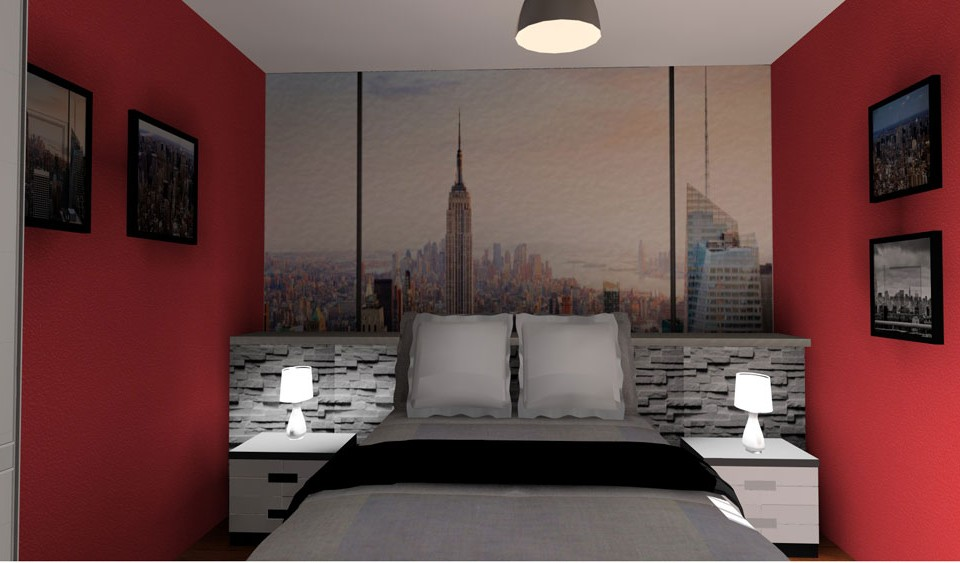 chambre 3D theme new york griffe deco