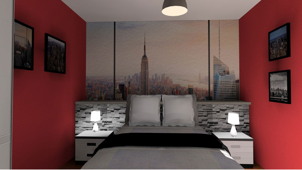 chambre en 3d th me new york. Black Bedroom Furniture Sets. Home Design Ideas