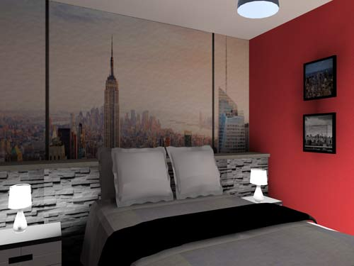 Chambre en 3d th me new york - Deco chambre new york ...