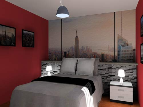 Chambre en 3d th me new york - Decoration chambre new york ...